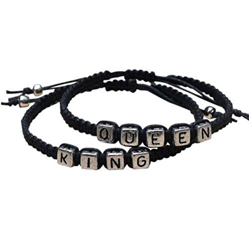 """Pixnor, Armbänder-Set für Paare, """"King""""- und """"Queen""""-Armband, handgefertigt, in Schwarz"""