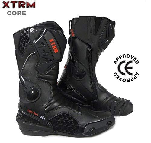 Xtrm, Motorradstiefel Core, Stiefel für Motorradrennen, Roller, Sportstiefel, Racing-Stiefel, damen Herren, XTRM CORE ALLE FARBEN, schwarz, EU 42 / UK 8