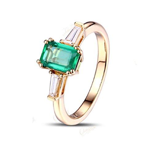 GOWE Anillo de compromiso de oro de 14 quilates con diamantes de esmeralda colombiana de 0,62 quilates