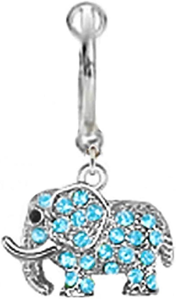 playful piercings Fake Belly Navel Non Clip on Aqua Lt Blue paved gem Elephant dangle Ring