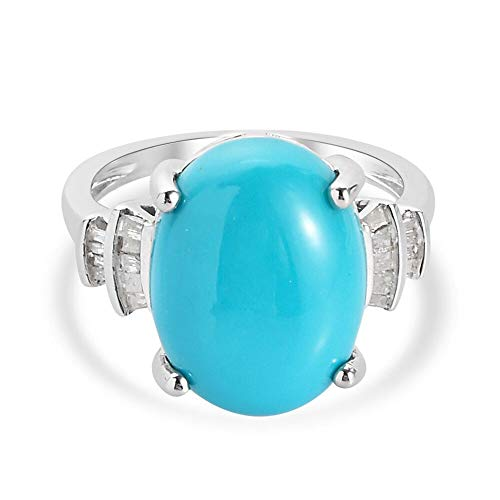 TJC Sleeping Beauty Turquoise Solitaire Ring for Womens in Platinum Plated 925 Sterling Silver Engagement Gemstone Jewellery Size O with White Diamond Blue Coloured December Birthstone, TCW 7.32ct