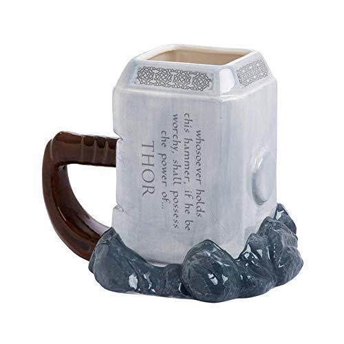 N\C Thor - Tazas de café con forma de martillo de cerámica y tazas de gran capacidad