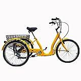 WANYE Bicicleta De 3 Ruedas, 24', Amarillo, Triciclo para Adultos, Triciclo Ajustable, Crucero, Bicicleta con Cesta, para Deportes Al Aire Libre, Compras De Picnic, Ideal Yellow