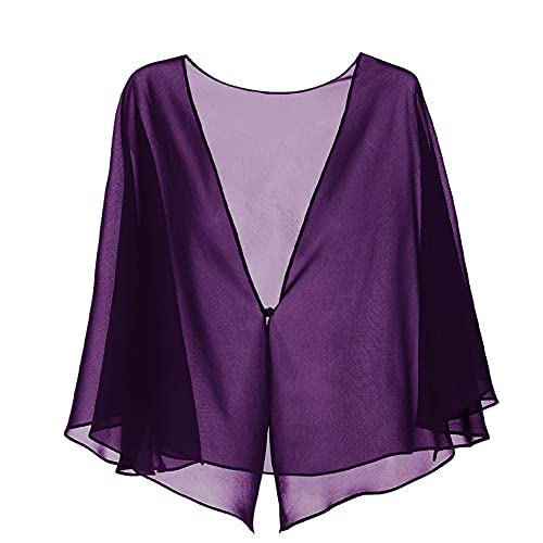 Freebily Womens Loose Sheer Bolero Chiffon Shrug Cardigan Top for Wedding Party Dress Cover Up Purple L