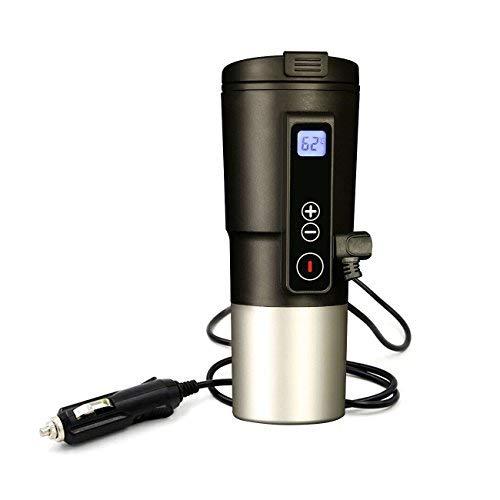 Smart Mug Car Bottle Warmer Heated Travel Mug Temperature Control Coffee Cup EAST MOUNT Electric Heating Car Coffee Warmer 12V Stainless Steel Tumbler Self Warming Milk Mugs LCD Display (Black,13OZ)…