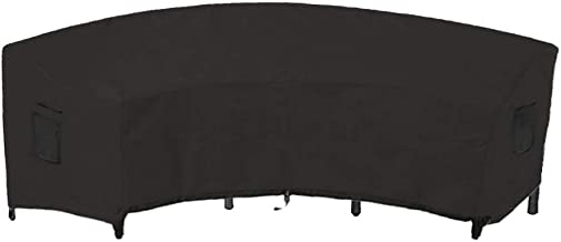 Linkool Outdoor Furniture Covers Patio Sectional Curved Couch Protector Black Waterproof for Half-Moon Sofa Sets 190x36x39 inches