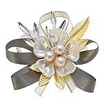 PRETYZOOM Ramillete de Muñeca Nupcial Flor de Muñeca de Seda Nupcial con Perla Pulsera Elástica Brazalete Pulsera Pan de Oro para Boda Prom Mano Flores Decoración