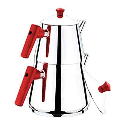 Turkish Tea Pots Set for Stove Top, Stainless Steel Double Teapot Set with Red Bakalite Handle, Samovar Style Self-Strained Tea Kettle, Total Capacity of 3.5 L (Family)
