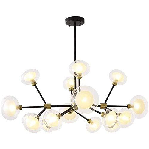 CAIMEI Lámpara de Techo Sputnik Chandelier, Lámpara Colgante G9, Lámpara Colgante de Esfera de Vidrio, Candelabros para Granja, Negro, 12 Luces,16 Luces
