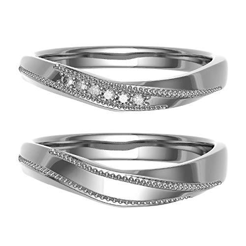 [ココカル]cococaru ペアリング 結婚指輪 シルバー 2本セット マリッジリング ダイヤモンド 日本製(レディースサイズ6号 メンズサイズ9号)