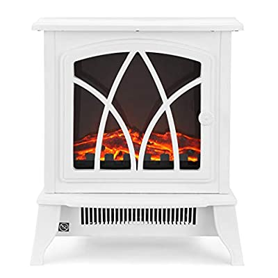 NETTA Electric Fireplace Stove Heater with Flame Effect, 2000W – Portable Freestanding Fire Place Log Burner - White
