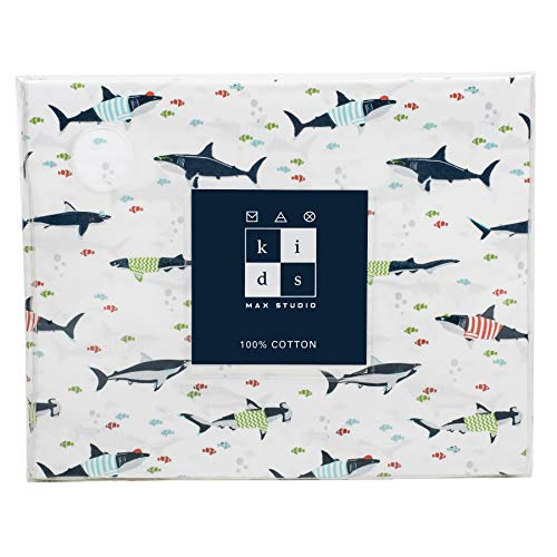 Max Studio Kids 4 Piece Kids Full Sheet Set Cute Great White Sharks with Striped Shirts