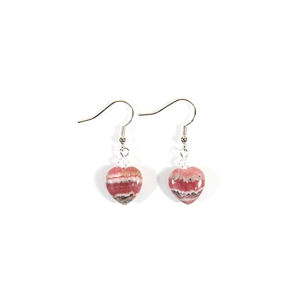 Genuine Naturally Pink Rhodochrosite Heart Earrings