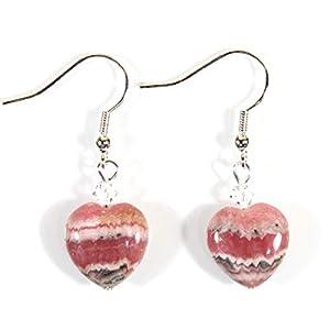 Genuine Naturally Pink Rhodochrosite Heart Earrings