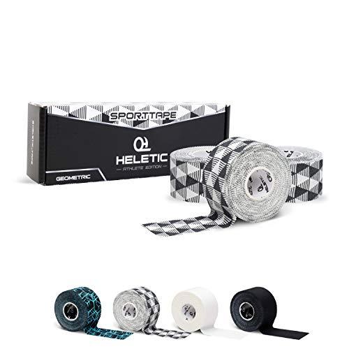 HELETIC Sporttape 3,8cm x 10m Athlete Edition - Tape mit extra starker Klebkraft, leicht abreißbar & wasserabweisend (Geometric (3 Rollen))