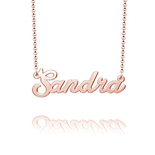SUNWIDE Personalized Name Necklace Silver Gold Plated Custom Mom Bridesmaid Gift Jewelry for Women