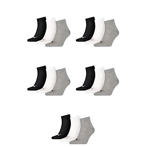 15 Paar Puma Unisex Quarter Socken Sneaker Gr. 35 - 49 für Damen Herren Füßlinge, Farbe:882 - grey/white/black, Socken und Strümpfe:35-38