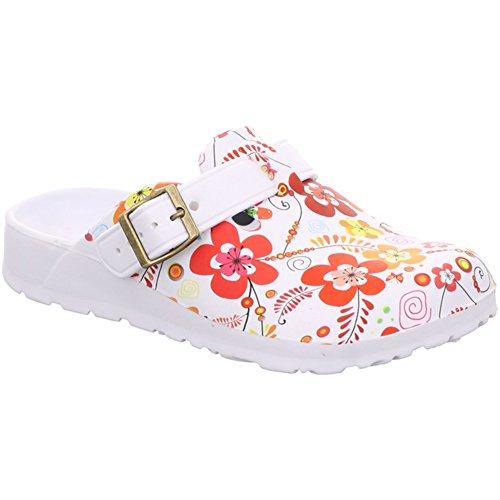 Damen Slobby Eva Clogs Hausschuhe Gartenclogs Beruf Pantoletten Freizeit Badeschuhe Fersen Riemen Blumen Motiv Slipper Sandalen Schuhe BA590557 (36, Rot)