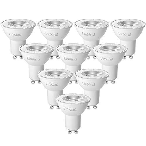 Linkind LED GU10 7W Lampe, 50W 70W Halogenlampe ersetzt, Warmweiß 36° Abstrahlwinkel Spotlight, AC 220-240V MR16 LED Glühbirne, 10er Pack