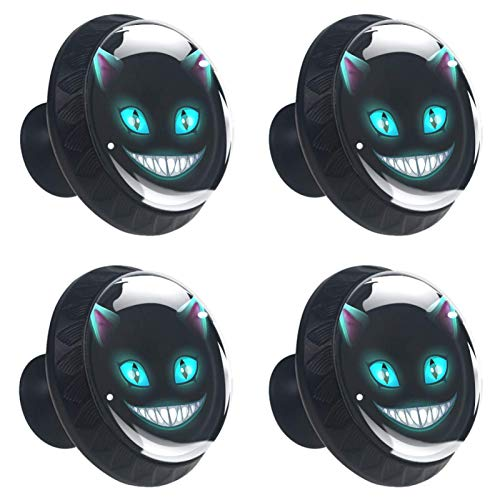 DEYYA 4 Pcs Scary Cheshire Cat Vampire Face Crystal Glass Drawer Knob Pull Handle Ergonomic 30mm Circle Furniture Cabinet Handle for Kitchen Dresser Cupboard Wardrobe
