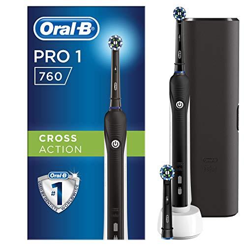 Braun Oral-B Pro 760 Elektrische Zahnbürste mit Aufsteckbürste und Reiseetui, schwarz