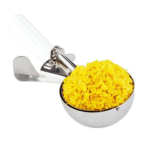 #6 (132 g) Prata, colher, colher de comida, colher de sorvete, controle de porção – cabo branco, aço inoxidável, Met Lux – 1 caixa – Restaurantware, prata
