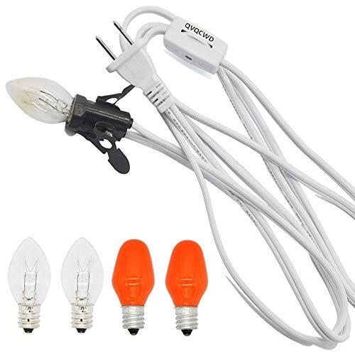 QVQCWD Clip in Night Light Cord with light bulbs,Pumpkin Light Socket,Lamp Cord for Christmas Village House