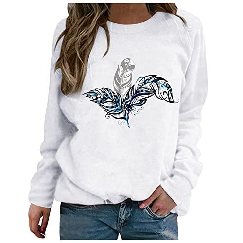Sudadera Mujer Barata Anchas Chica Impresión, Top Suéter Sweatshirt Mujer Tallas Grandes Originales Otoño e Invierno Oferta