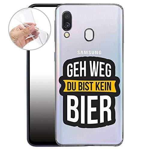 Finoo Handyhülle kompatibel für Samsung Galaxy A40 - Hülle mit Motiv & Optimalen Schutz TPU Silikon Tasche Hülle Cover Schutzhülle - GEH Weg du bist kein Bier