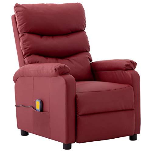 vidaXL Massagesessel mit Heizfunktion Fernsehsessel Relaxsessel Liegesessel TV Sessel Ruhesessel Polstersessel Ledersessel Weinrot Kunstleder