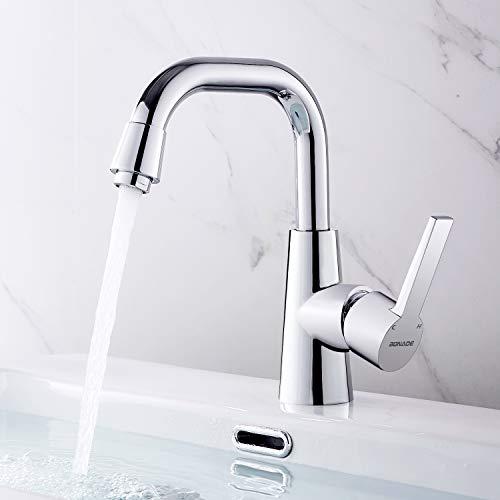 Waschtischarmatur Hoch 360° Schwenkbar Wasserhahn Bad, BONADE Waschbecken Armatur Verchromt Einhandmischer Messing Badarmatur Küchenarmatur Waschtisch Mischbatterie für Bad oder Küche