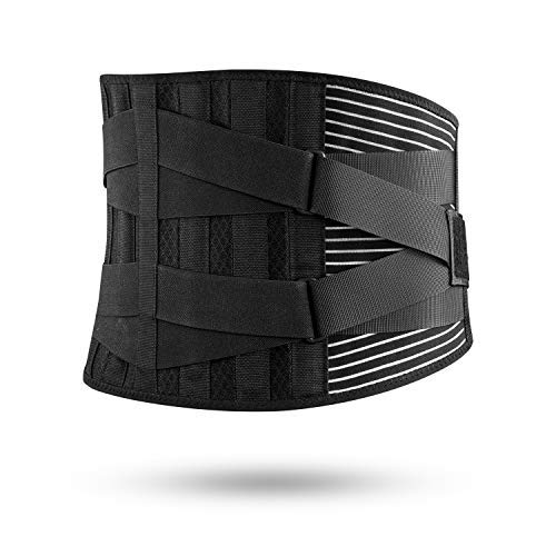 Freetoo Back Brace for Lower Back Pain Relief with 4 Stays Breathable Back Support with Knitted Fabric Custom Fit with 2 Adjustable Straps Antiskid Waist belt for Women Men Herniated Disc Sciatica