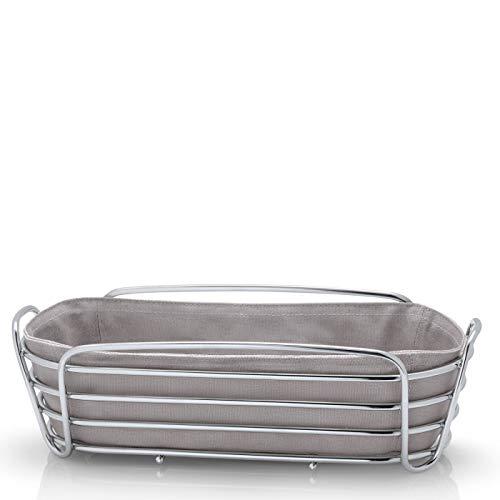 Blomus 63676 Brotkorb DELARA, taupe, 32 x 14 x 9 cm, Brotkörbchen aus verchromtem Stahl und Baumwoll-Stofftasche