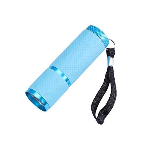 Lurrose Portátil 9 LED Antorcha Linterna UV Luz Ultravioleta Luz de aleación de Aluminio Antorcha de detección de Dinero sin batería (Azul)
