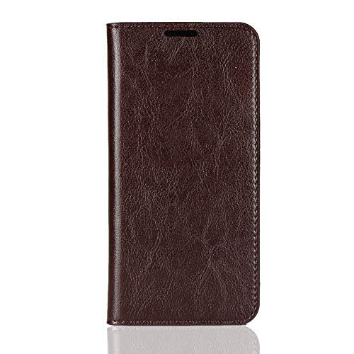 Sunrive Kompatibel mit Asus Zenfone Max Pro (M2) ZB631KL Hülle,Echt-Ledertasche Schutzhülle Standfunktion Flip Lederhülle Hülle Handyhülle Schalen Kreditkarte Handy Tasche MEHRWEG(braun)