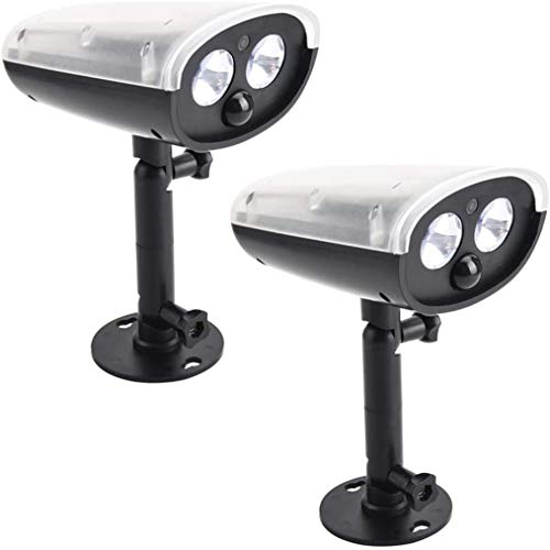 YUKM Beleuchtung LED Solar Outdoor Licht Sicherheitslicht, Sport Outdoor Simulation Überwachung Licht Haushalt Gefälschte Kamera Menschliche Körper Induktion LED Doppelkopf Wandleuchte (2 stücke)