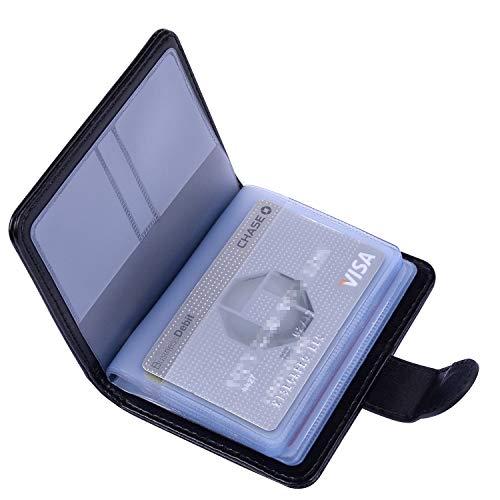 クレジットカードケース Wisdompro 磁気防止 スキミング防止 PUレザー 二つ折り 大容量 カードホルダー カード入れ 縦型 ブラック 【20枚収納+7枚収納(メモリカード用)】