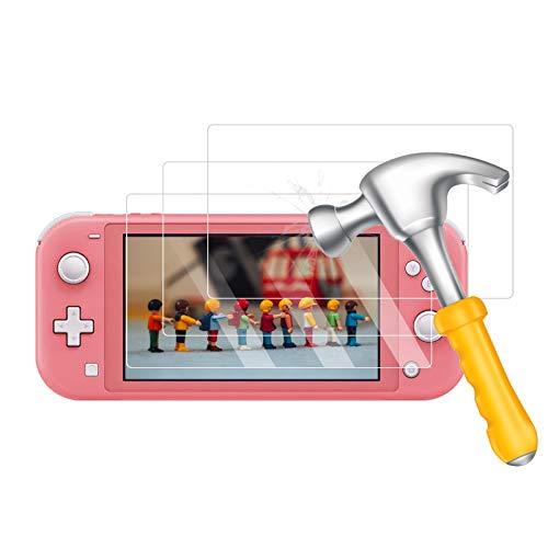 【3 Stück】Panzerglas Schutzfolie kompatibel mit Nintendo Switch Lite, Displayschutzfolie [9H Härte][Anti Kratzer][Bläschenfrei][HD Clear][Anti-Fingerabdruck&Öl], Film Schutz für Nintendo Switch Lite