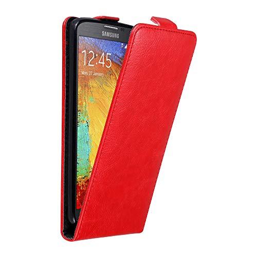 Cadorabo Hülle für Samsung Galaxy Note 3 NEO in Apfel ROT - Handyhülle im Flip Design mit unsichtbarem Magnetverschluss - Hülle Cover Schutzhülle Etui Tasche Book Klapp Style