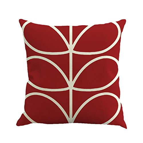 """Pillow Covers Decorative,Lavany Geometry Painting Linen Throw Pillow Case Cushion Cover Sofa Bedroom Home Decor Square """"18x18"""" (Watermelon Red)"""
