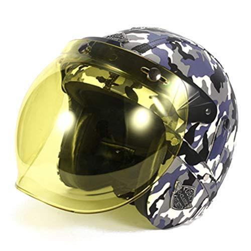 Camuflaje Retro Casco de motocicleta Moto de cara abierta 3/4 Medios cascos Scooter Capacete Casco Personalidad de motocicleta Medio casco