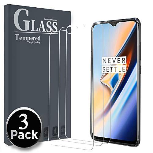 Ferilinso OnePlus 6T kogelvrij glas beschermfolie, gehard glas screen protector gepantserd glas gehard glas met levenslange garantie voor OnePlus 6T, 3 stuks.
