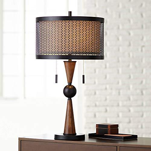 Hunter Mid Century Modern Table Lamp Wood Bronze Metal Shade for Living...
