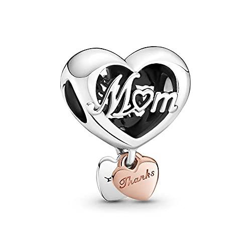 Pandora 925 Colgante de plata esterlina Diy Perla del día de la madre Gracias Mamá Corazón Charm Fit Moda Mujer Pulsera Brazalete Joyería de regalo