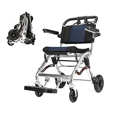 Dream ZX Sillas de Ruedas Plegables para Adultos Portátil Ligero Asistente de Transporte de sillas de Ruedas con Marco de aleación de Aluminio para avión Adulto, Maletero de Coche (Color : 12in)