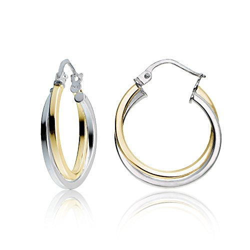 Hoops & Loops Yellow Gold Flash Sterling Silver Two-Tone Intertwining Square-Tube Polished Hoop Earrings,