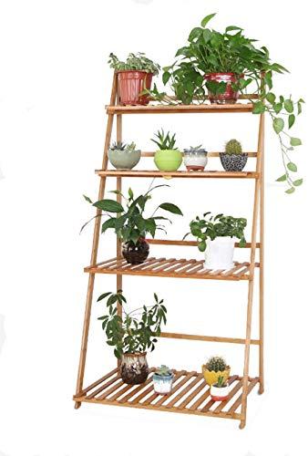 Titular de la maceta Plegable flor Soporte de suelo de flor de madera al aire libre Montaje del soporte for Bonsai plataforma de almacenamiento en rack de cocina 70x48x140cm + Soporte de planta
