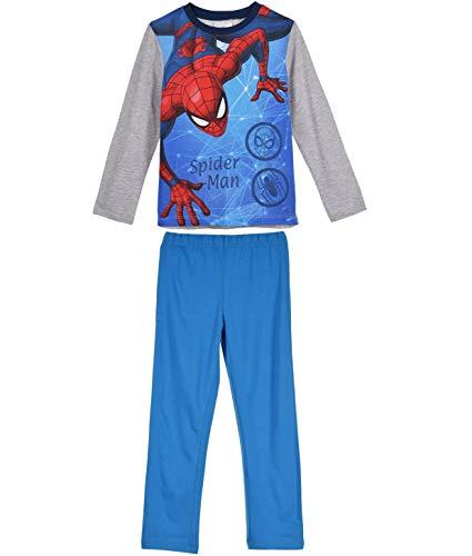 Spiderman Marvel Schlafanzug Jungen Lang (Grau-Blau, 122-128)