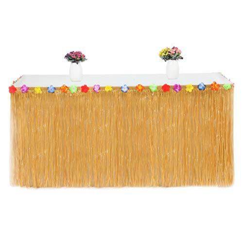 Oyfel. hawaïenne Luau Table Jupe Hawaiian Luau Hibiscus Herbe Jupe de Table avec Fleurs en Soie Faux pour BBQ Tropical Garden Beach Summer Tiki décorations de fête Or Jupe de Table Decoration Hawai