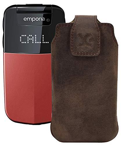 Suncase Original Tasche für Emporia Glam V34 Hülle Leder Etui Handytasche Ledertasche Schutzhülle Hülle in antik braun